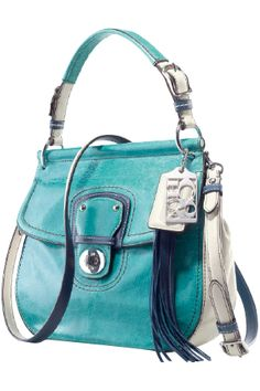 """Coach"" Clarity of Thought: Turquoise enhances the ability to focus and concentrate, assisting with clear thinking and decision-making! The perfect color!,COACH KRISTIN ELEVATED LEATHER SAGE ROUND SATCHEL,cheap discount coach bags upcoming $44.99"