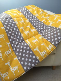 """Plush Baby Play Mat Padded Floor Blanket Personalize Yellow Giraffes Gray Dots Quilt Tummy Time Newborn Gift Baby Shower Nap Mat 35"""" x 35"""" by SewThoughtfulBlanket on Etsy"""
