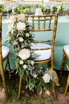 Grayed Jade Sophisticated Garden Wedding Ideas Dekoracja krzeseł - girlanda leaf or ivy garland with victorian or steampunk accents. Flowers in wedding colors. Greenery Garland, Floral Garland, Table Garland, Wedding Chair Decorations, Wedding Chairs, Decor Wedding, Rustic Wedding, Wedding Table, Fete Marie