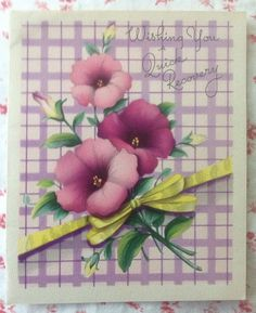Vintage 1940s Get Well Card ~ Lavender Plaid, Purple Petunias, and Yellow Ribbon