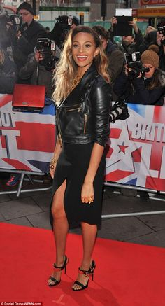 Alesha Dixon dons leather jacket and side split skirt at BGT auditions #dailymail