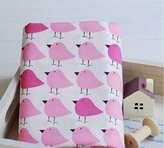 """Tissu en coton  """"oiseaux rose"""" 50*43cm patchwork animaux  : Tissus à thème par yoshiiii"""
