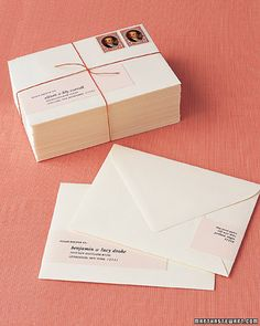 One sure way to address for success? Create sleek, wrap-around labels. If calligraphy is too costly or your penmanship isn't perfect, this is a handsome, appropriate option that's easy to do.