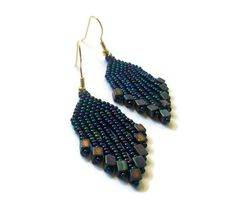 Amethyst Iris Beaded Dangle Earrings/Glam by CallunaMuse on Etsy, $17.00