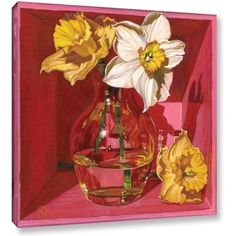 ArtWall Paige Wallis Narcissus In Pink Gallery-wrapped Canvas, Size: 24 x 24, White