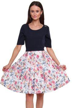 05068845f1 Sukienka rozkloszowana granatowa od CosmosModa    kup teraz!    duży wybór  sukienek dla