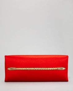 Tom Ford Two-Headed Serpent Coral Red Silk Clutch - Neiman Marcus