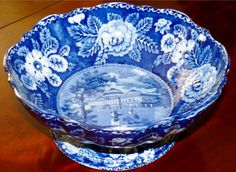 """THE CAPITOL WASHINGTON"""" VERY RARE COMPOTE HISTORICAL STAFFORDSHIRE MADE FOR THE AMERICAN MARKET CIRCA 1820'S. Description: One of the most attractive views on a piece of historic Staffordshire transferware made for the American market. And it is in near mint condition. D. 10 3/4"""" H. 4 1/2"""". This compote form is even rarer than the related """"Capitol Washington"""" bowl. Offered at 5/17/17 ADA Online show by Artemis Gallery for Price: $3250."""