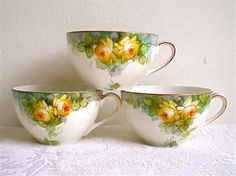 Antique Noritake China Cups Yellow Roses