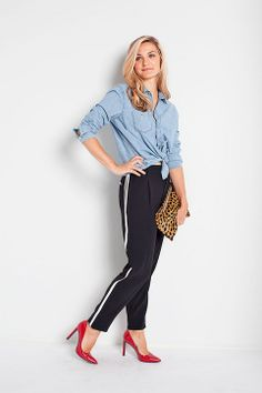 Chic Outfits, Winter Outfits, Denim Outfits, December Outfits, Neon Skirt, Side Stripe Trousers, Stripped Pants, Tuxedo Pants, Skirts With Boots