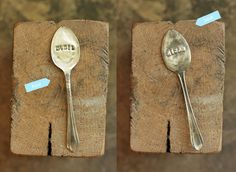 Hand stamped vintage spoon herb markers. http://seelamade.typepad.com/seela-made/2011/11/diy-silverware-herb-markers.html#
