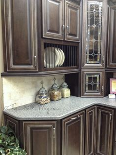 Espresso Stained Maple Cabinets with Khaki Glaze