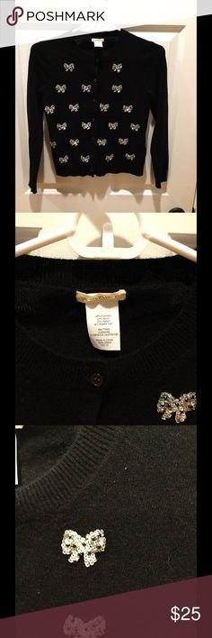 Girls Crewcuts sequin bow sweater Sz 12 Perfect for the upcoming holidays!  Great black Crewcuts sweater with little sequin bows.  sweater is a size 12.  Nice preowned condition. J. Crew Shirts & Tops Sweaters