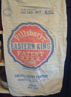 VINTAGE Pillsbury cotton Flour Sack (Feed Sack) 100 pound size