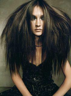 Jacquelyn Jablonski by Nico for Harper's Bazaar Spain September 2011 Bad Hair Day, Big Hair, Your Hair, Crazy Hair, High Fashion Hair, Beautiful Long Hair, Hair Art, Vintage Beauty, Messy Hairstyles