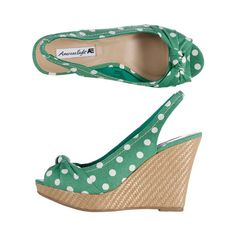 4b6248e3a875 Women s Sweetheart High Wedge Sling ( 25) ❤ liked on Polyvore Green Wedges