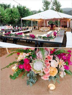 Boho chic wedding reception.