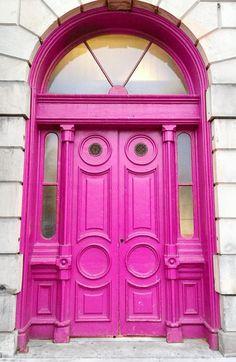 Pink doors in Toronto, Ontario, Canada.