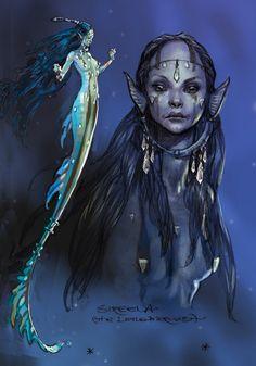 (Art by Iain McCaig) Mermaid Magical Creatures, Sea Creatures, Cool Mythical Creatures, Fantasy Kunst, Fantasy Art, Character Design References, Character Art, Mermaids And Mermen, Evil Mermaids