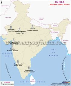 Map depicting major nuclear power plants in India.