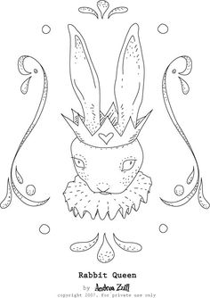 The Rabbit Queen embroidery pattern
