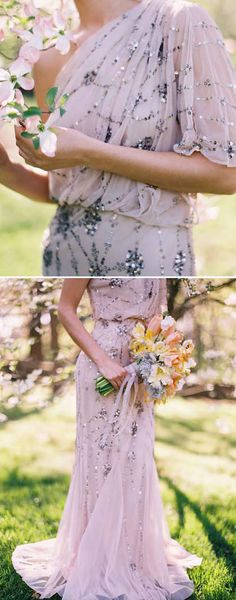 sequined lavender gown