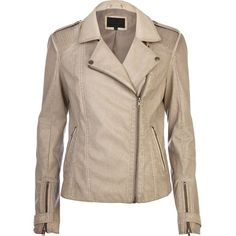 River Island Beige over dye leather look biker jacket (€33) ❤ liked on Polyvore featuring outerwear, jackets, coats, sale, vegan moto jacket, faux-leather moto jackets, brown biker jacket, brown moto jacket and faux leather motorcycle jacket