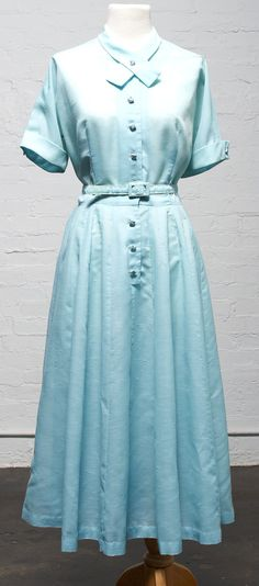 1950's Powder Blue Day Dress with Rhinetsone by LauraDarlingDeluxe, $28.50