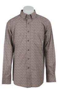 Ariat Men's Chocolate Broveli Print Western Shirt | Cavender's