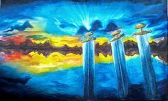 """""""El cielo en la tierra"""" 50 x 100 cms Acrílico 2010"""