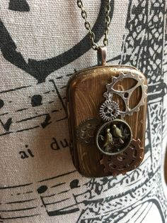 Mixed Media Wearable Art Jewelry Repurposed Altered Tin Necklace Steampunk Gear Gift For Geeks Map Wanderlust Lovebird Girlfriend Romantic by EntirelyChic on Etsy Steampunk Gears, Steampunk Fashion, Bronze Anniversary Gifts, Creative Christmas Gifts, Mint Tins, Altered Tins, Stylish Jewelry, Geeks, Handmade Necklaces