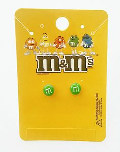 M&M 's Miny Green Stud Earrings (Official Licensed Product) Fashion Jewelry