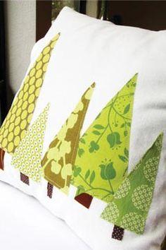 DIY Christmas tree pillows.