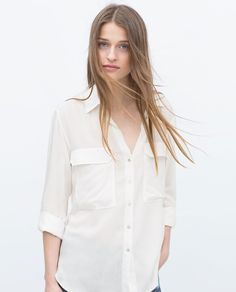 BLOUSE WITH ROLL-UP SLEEVES-View all-Tops-WOMAN | ZARA