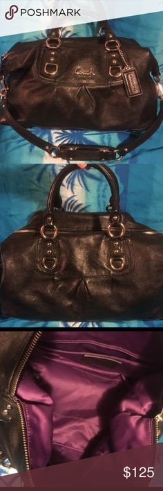 """Coach Ashley Satchel Black Leather Excellent like new condition. Now signs of wear. From a smoke free home. 4 stud feet on bottom for balance and protection Detachable shoulder strap-13"""" drop Interior fabric lining Large zip pocket with leather pull on one side; 1 open slip pocket Leather exterior; Zip top closure with leather pull; 6"""" dual rolled leather handles Polished nickel hardware; Leather coach hang tag Approx Dimension 15""""(L) x 7.5"""" (H) x 6""""(W Coach Bags Satchels"""