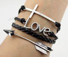 Amor infinito flecha cruz brazalete negro fresco con correa de cuero negro tejida pulsera del encanto de la moda pulsera-Q449