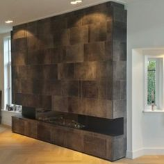 Leather Fireplaces - Alphenberg Fireplace Refacing, Fireplace Tv Wall, Modern Barn, Fireplaces, Apartments, Flat Screen, Decorating Ideas, Interior, Leather