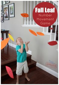 Toddler Approved!: Search results for move and learn number (or alphabet) movement game. Fall leaves toss. Kids toss the leaves then try to catch them and name the letter aloud on the leaf they caught. Cute! They can also go pin them to a poster board tree and then go throw some more in the air