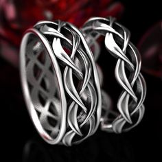 His & Hers Wedding Ring Set, Celtic Woven Wedding Ring Set in Sterling Silver, Matching His and Hers Wedding Bands, Celtic Wedding 1328 1329 - Moyiki Sites Celtic Wedding Bands, Custom Mens Wedding Bands, Muster Tattoos, Palladium, Celtic Rings, Matching Wedding Bands, Beautiful Wedding Rings, Argent Sterling, Sterling Silver Rings