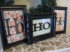 In the Mantle!! Great decorating idea! $1 frames from dollar store, christmas scrapbook paper, and cut out letters!