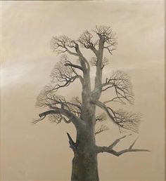Monastery Chestnut Tree - Stefan Caltia Magic Realism, Abstract Nature, Art Database, Tree Art, Tree Of Life, Mother Earth, Painting On Wood, Landscape Paintings, Modern Art