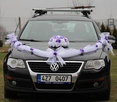 Svatební dekorace na auto ženicha i nevěsty ŠERPA