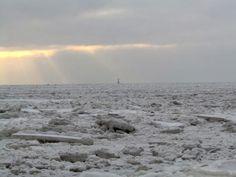 Frozen North Sea, Wilhelmshaven, South Beach, Germany.