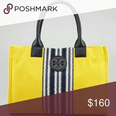 NEW Tory Burch Ella Center Stripe Large Tote Bag Will post more pics. New with tags. Length 16 inches. Height 11.5 inches. Depth 5 inches. This is a large size bag and can function as a book bag. Retail $250 plus tax.    NO TRADES. PRICE FIRM. This is the lowest price. Ships within 1 to 2 business days. Tory Burch Bags