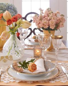 Set an elegant table for Mother's Day with a mix of porcelain dinnerware and fresh flowers. More Mother's Day ideas: http://www.midwestliving.com/holidays/easy-mothers-day-decorations/?page=8