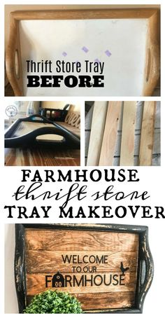 easy home decor Farmhouse Thrift Store Tray Makeover. Turn a thrift store tray into this beautiful farmhouse tray. Budget home decor at its best. Just a few supplies transforms this tray. Do It Yourself Furniture, Do It Yourself Home, Diy Organizer, Thrift Store Crafts, Thrift Stores, Online Thrift, Thrift Store Furniture, Thrift Store Finds, Crafts For Teens To Make