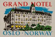 Grand Hotel Oslo Norway, Original Luggage Label