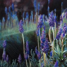 Items similar to Lavender Flower Garden, Stretched Canvas Print of an Original Pastel and Acrylic Painting, Ready to Hang on Etsy