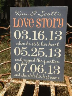 Personalized Wedding - Love Story Important Date Sign, Wedding Gift , Anniversary Castle Inn Designs - Special Dates via Etsy