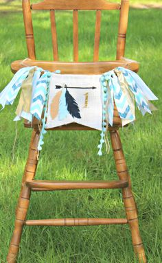 Aztec inspired birthday highchair banner,feathers, teepee, pow wow, Tribal theme for boy or girl, arrows,archery,garland,photo prop